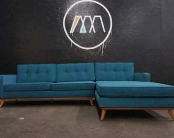 Mid Century Sofa Sectional Chaise, reversible to both sides