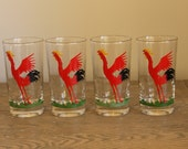 Federal Glass, Red Rooster Tumblers, Vintage Barware, Set of 4