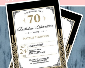 Black and Gold Birthday Invitation,  Printable,  Self Editable, INSTANT DOWNLOAD, Diy, Personalized, Digital PDF File, 70th Birthday