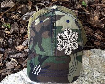 Trucker Hat, Trucker Caps, Rhinestone Hats, Rhinestone Caps, Camo Trucker Hats, Camo Caps, Distressed Hats, Flower Caps