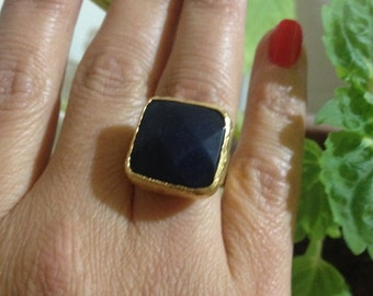 Ring, Gemstone Ring , Gold Filled Ring, Black  Ring, Agate ring, Handmade Ring, Free Size Ring, Gold Plate Ring, Gift for  Her
