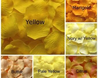 Yellow Silk Rose Petals, 300 petals
