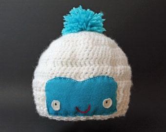 Crochet Cute Yeti Hat (Abominable Snowman)