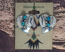 Beautiful Sterling Silver Navajo Turquoise Earrings