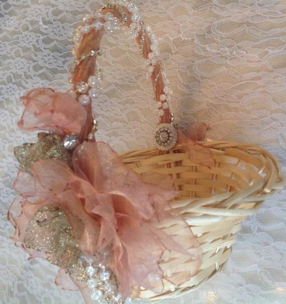 Flower Girl Basket Blush : Blush flower girl basket wedding vintage inspired