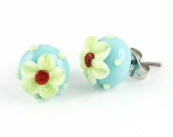 Lampwork earrings of surgical steel