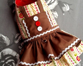 Small dog clothes, Dog dress, Chihuahua Clothing, Gingerbread dog outfit, Designer dog coat  XS