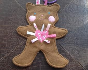 Teddy Bear Tag Toy, Teddy Bear Sensory Toy,  Baby Shower Gift