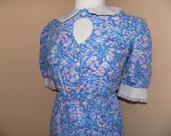 80s Avon Fashions Collared Cut-Out Dress
