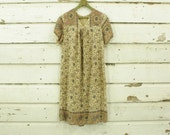 vintage 1970s soft & thin cotton block print mauve olive floral india dress XS S