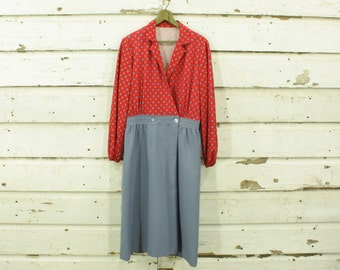 vintage 1960s red floral bodice & blue skirt dress L