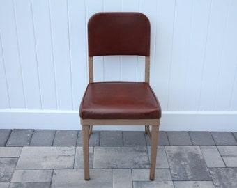 Vintage Metal Industrial Chair by Royalmetal Corporation Brown Frame Vinyl Leatherette Cushion Backrest Upholstery Desk Dining Seating
