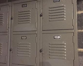 Set of Grey Metal Lockers Salvaged School Vintage 1960s or 1970s General Steel Products Corp New York Storage Industrial Chic Furniture