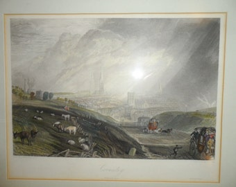 Stunning City of Coventry Antique Framed Engraving