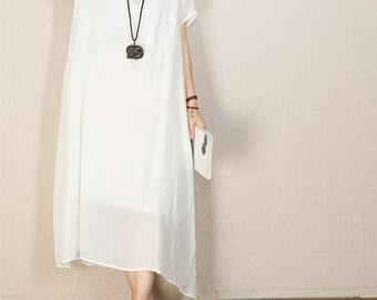 Women summer tunic dress beach dress linen maxi dress large size cotton dress plus size dress women linen clothing