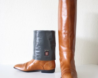 Size 7.5 Italian Tall Leather ANNA KLEIN Riding Boots