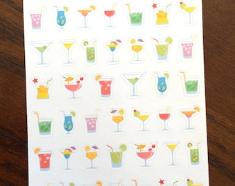 Cocktail Planner Stickers - Drink Stickers - Happy Hour Stickers - Party Stickers - Alcohol Stickers - Girls' Night Planner Stickers