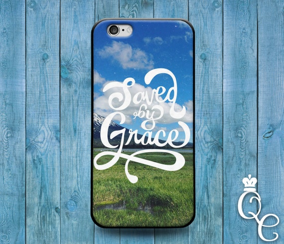 iPhone 4 4s 5 5s 5c SE 6 6s 7 plus iPod Touch 4th 5th 6th Generation Cute Bible Christian Quote Saved by Grace Swiss Alps Phone Cover Case