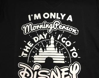 Disney Morning Person Vneck Tshirt (Customize Color)