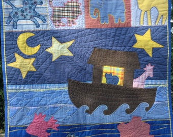 Noah's Ark Children's,bible story,Noah's ark baby,baby room decor,quilt,picture,fabric art