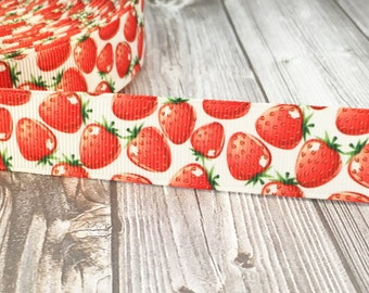 """7/8"""" Strawberry ribbon - Fruit ribbon - Summer ribbon - 3 or 5 yards - Summertime craft - DIY hair bows - Red green white - Strawberry patch"""
