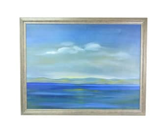 Vintage Slightly Abstracted Early Morning Lake or Seascape Oil Painting