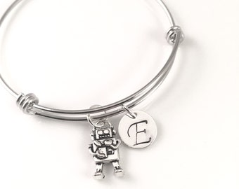 Personalized Mom's bracelet,  Toy Robot charm Bracelet, Charm bracelet, New mom of boy Bracelet,  adjustable bangle