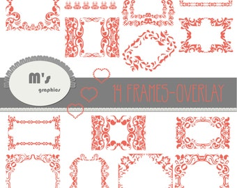 Frames Labels Hearts Coral Damask Overlay. Transparent, to use with favourite background. Everyday is Valentine!