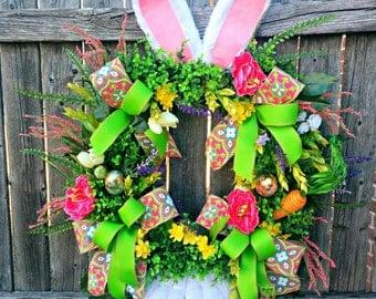 Easter Wreath, Easter Bunny Wreath, Easter Door Wreath, Easter Wreaths, Spring Decor, Easter Decorations, Pink, Green, Boxwood