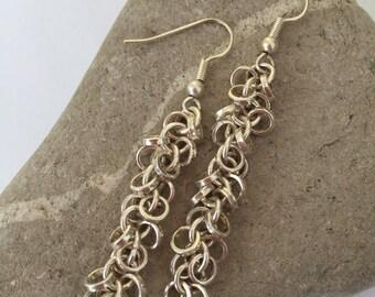 Sterling Silver Dangle Chain Earrings
