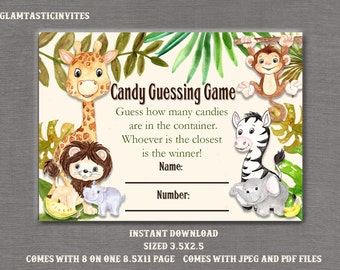 Candy Guessing Game, Candy Guess Game, Jungle Baby Shower, Safari Baby Shower, Safari Candy Game, Jungle Candy Game, Baby Shower Game, Baby