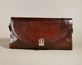 Vintage Brown Leather Bag, Shoulderbag, Shoulderpurse, Small Bag, Evening Bag