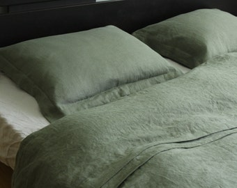 Green softened linen DUVET COVER SET: linen duvet cover with oxford style pillowcases, single, full, queen, king sizes, linen bedding