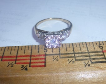 Lovely Estate Diamomd Engagement Ring 14K WG Sz 7