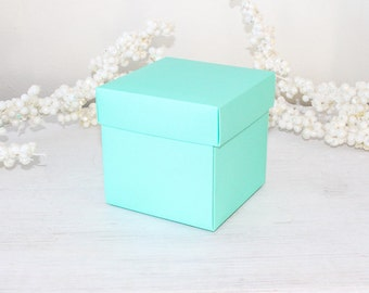 "Large Cupcake Boxes, Turquoise Blue Favor Boxes, Wedding Favor Boxes, Party Favor Boxes, Wedding Gift Boxes 10 boxes 4"" x 4"" x 4"""