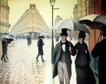 """16"""" X 20"""" Paris Street Rainy Day 1877 Painting by Gustave Caillebotte Vintage Poster Repro FREE S/H in USA"""