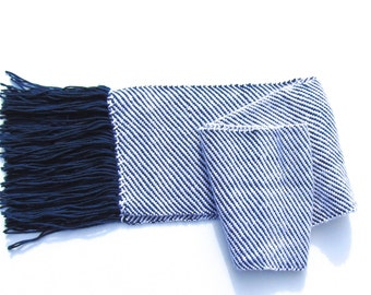 Hand Woven Scarf in Navy Blue and White