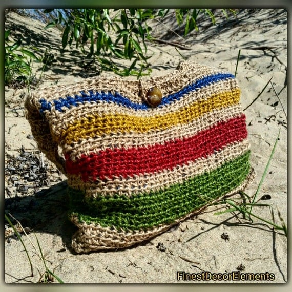 HANDMADE crochet summer HANDBAG 100 % natural JUTE
