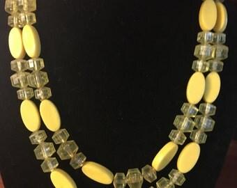 Summer Sunshine Yellow Double Strand Necklace
