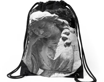Drawstring Backpack, Bag, Totebag - Cemetery, Statue, Headstone 'Restful Mourning' Original Photography