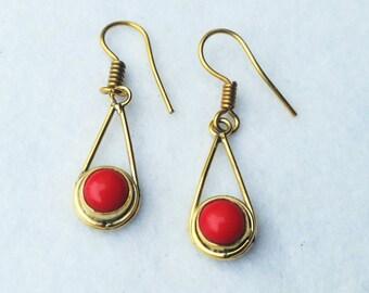 Brass Earrings, Drop Earrings, Red Onyx Earrings, Boho Earrings, Gemstone Earrings, Gold Earrings, Ethnic Earrings, Gemstone Earrings