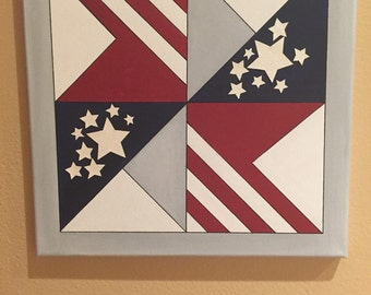 Quilt Art:  Mixed media/Acryllic/Fabric Independence Day