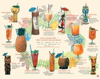 "Vintage Hawaiian Tiki Drink Menu Print 11""x14"""