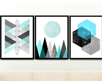 Geometric Prints, Triptych, Scandinavian Design, Printable Art, Abstract Art, blue Wall Art, Set of 3 Prints, digital download