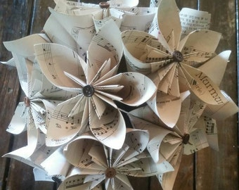 Sheet music paper flower, sheet music flower, Paper flowers, Sheet music wedding bouquet