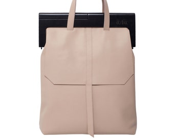 Leather and wood tote bag