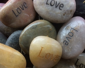 Engraved Stones / River Rocks with Inspirational Words - Gifts or Paper Weights - Love