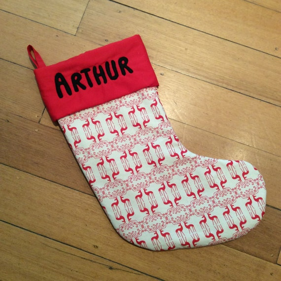 Personalised, Quality Padded and Lined, 55cm Long, Calico & Red Reindeer Christmas Stockings