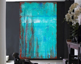 Extra Large Painting, Abstract Painting ,Mint Rust Abstract,Oil painting Wall Art Original Artwork, Abstract Canvas Painting, Mint Abstract