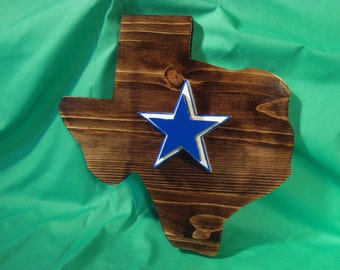 3D Wooden State of Texas Cut Out with Blue Star